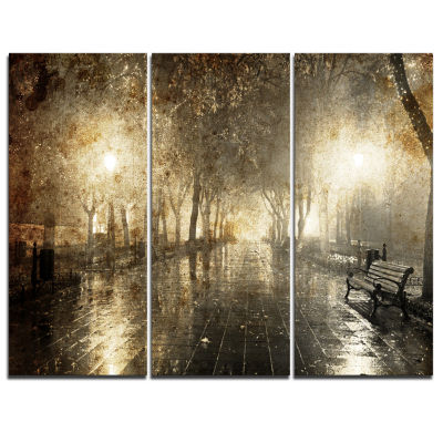 Design Art Night Alley With Lights Photography Landscape Canvas Print - 3 Panels