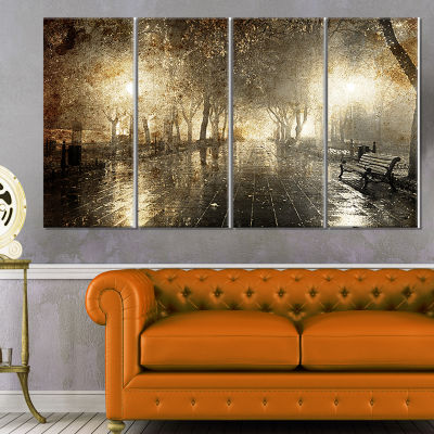 Designart Night Alley With Lights Photography Landscape Canvas Print - 4 Panels