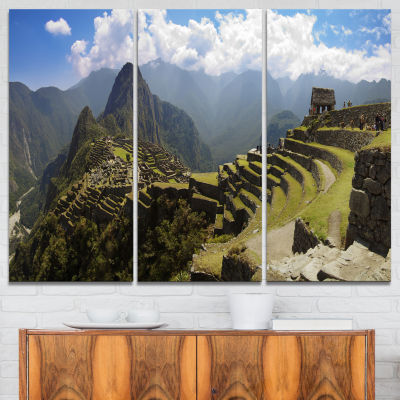 Designart Machu Picchu Panorama Landscape Photo Canvas Art Print - 3 Panels