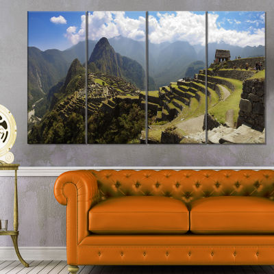 Designart Machu Picchu Panorama Landscape Photo Canvas Art Print - 4 Panels