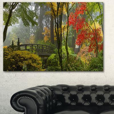 Designart Japanese Wooden Bridge In Fall Photography Canvas Art Print