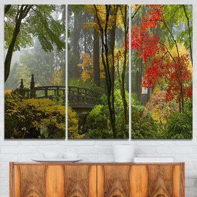 Designart Japanese Wooden Bridge In Fall Photography Canvas Art Print - 3 Panels