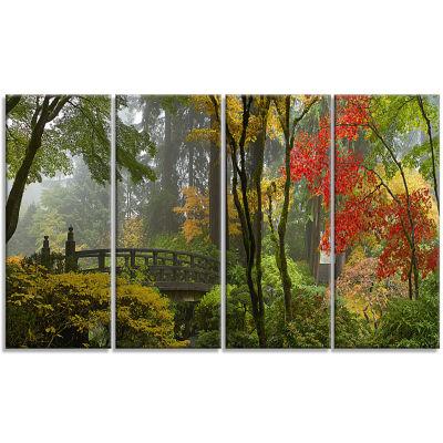 Design Art Japanese Wooden Bridge In Fall Photography Canvas Art Print - 4 Panels