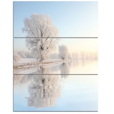 Designart Frosty Winter Tree By Rising Photography Canvas Art Print - 3 Panels