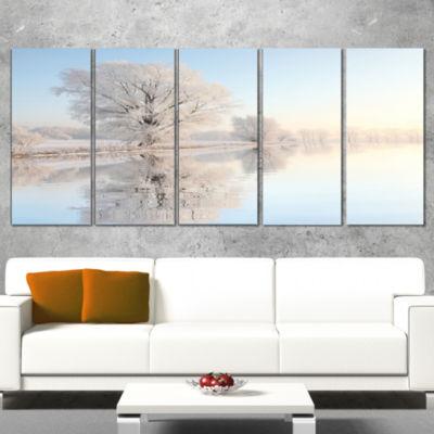 Designart Frosty Winter Tree By Rising PhotographyCanvas Art Print - 5 Panels