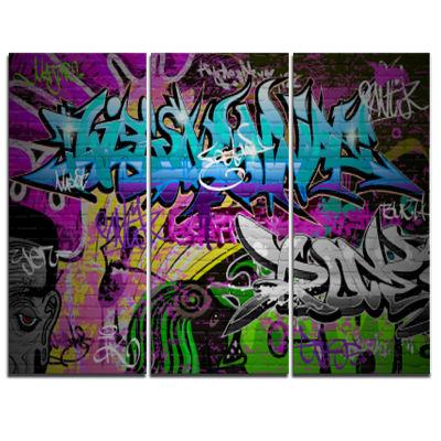 Design Art Graffiti Wall Urban Art Abstract Street Art Canvas Print - 3 Panels