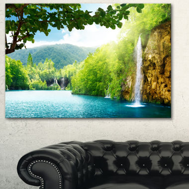 Design Art Waterfall In Deep Forest Landscape Photography Canvas Art Print