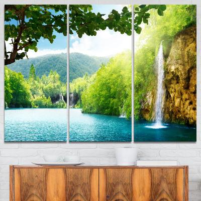 Designart Waterfall In Deep Forest Landscape Photography Canvas Art Print - 3 Panels