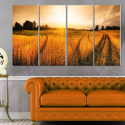 Design Art Wheat Field At Sunset Panorama Photography Canvas Art Print - 4 Panels