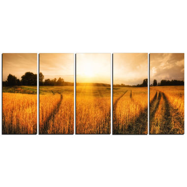 Design Art Wheat Field At Sunset Panorama Photography Canvas Art Print - 5 Panels