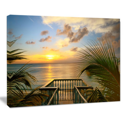 Design Art Sunset Sea View From Terrace Photography Canvas Art Print