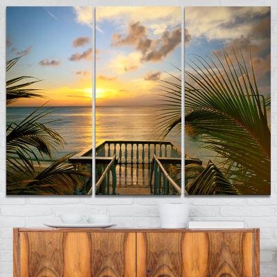 Design Art Sunset Sea View From Terrace PhotographyCanvas Art Print - 3 Panels