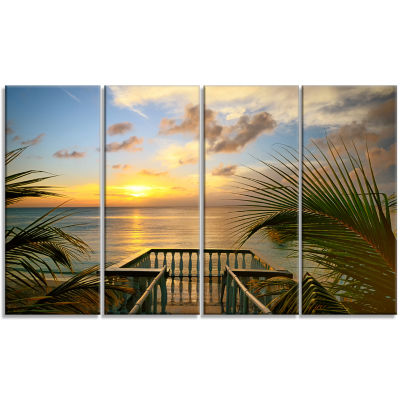 Designart Sunset Sea View From Terrace PhotographyCanvas Art Print - 4 Panels