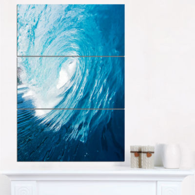Designart Ocean Waves In Hawaii Photography Canvas Art Print - 3 Panels