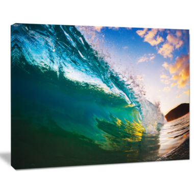 Designart Ocean Wave At Sunset Photography CanvasArt Print