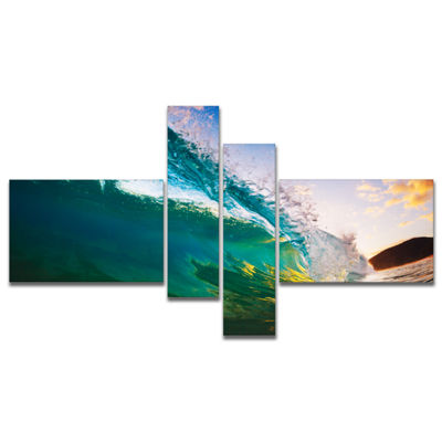 Designart Ocean Wave At Sunset Photography CanvasArt Print - 4 Panels