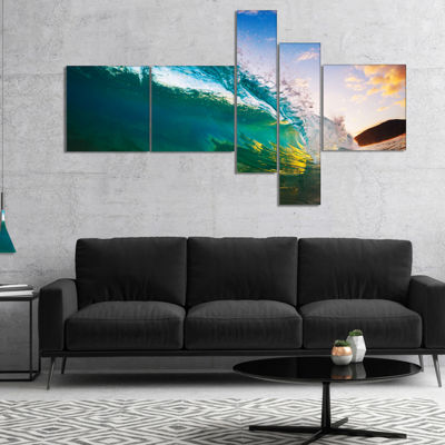 Designart Ocean Wave At Sunset Photography CanvasArt Print - 5 Panels