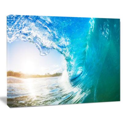 Designart Blue Waves Arch Seascape Photography Canvas Art Print