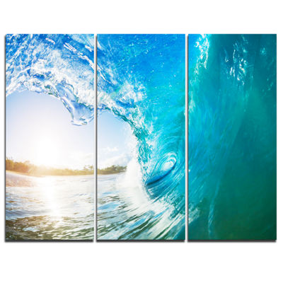 Designart Blue Waves Arch Seascape Photography Canvas Art Print - 3 Panels