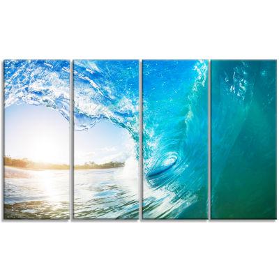 Designart Blue Waves Arch Seascape Photography Canvas Art Print - 4 Panels