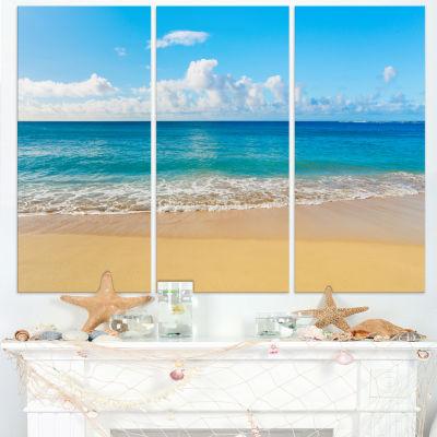 Designart Calm Beach And Tropical Sea PhotographyCanvas Art Print - 3 Panels