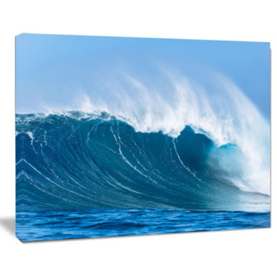 Designart Sky Hitting Ocean Waves Canvas Art Print
