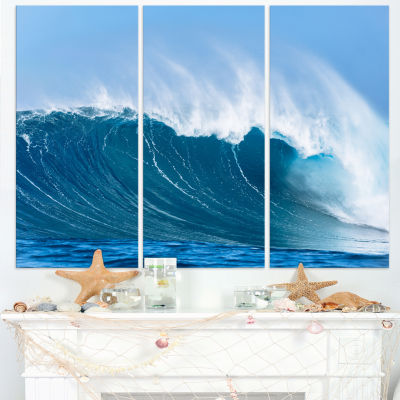 Designart Sky Hitting Ocean Waves Canvas Art Print- 3 Panels