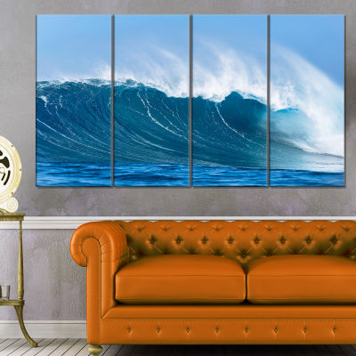 Designart Sky Hitting Ocean Waves Canvas Art Print- 4 Panels