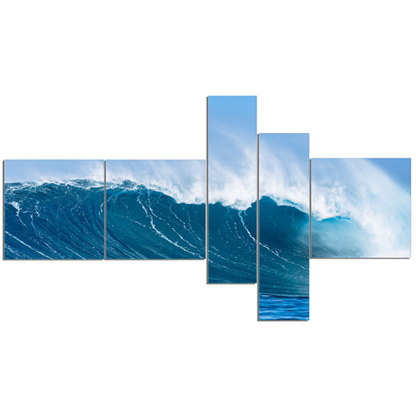 Designart Sky Hitting Ocean Waves Canvas Art Print- 5 Panels