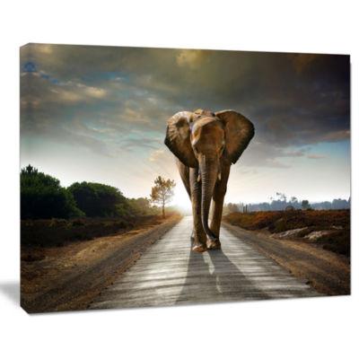 Designart Single Walking Elephant Photography Canvas Art Print