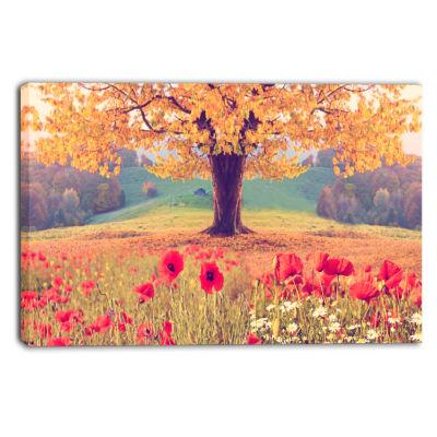 Designart Landscape With Poppy Flowers PhotographyCanvas Art Print