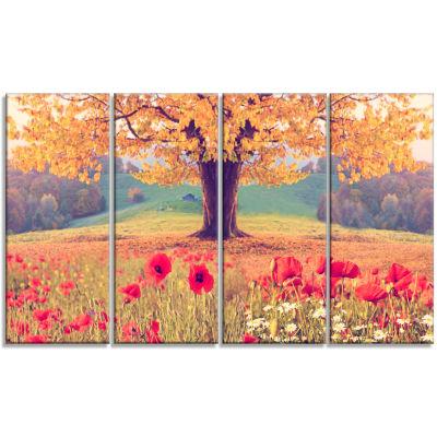Design Art Landscape With Poppy Flowers Photography Canvas Art Print - 4 Panels