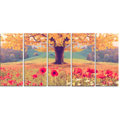 Designart Landscape With Poppy Flowers PhotographyCanvas Art Print - 5 Panels