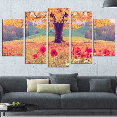 Design Art Landscape With Poppy Flowers Photography Canvas Art Print - 5 Panels