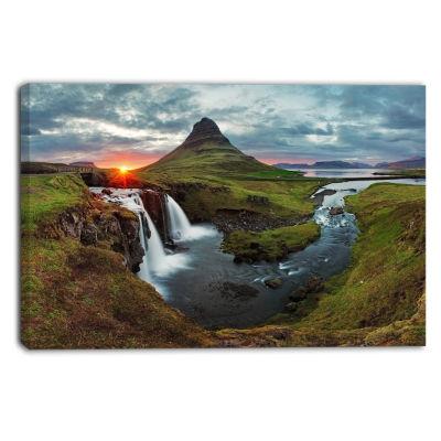Designart Iceland Landscape Spring Panorama CanvasArt Print