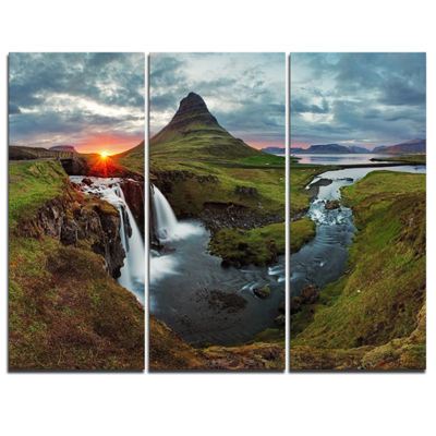 Design Art Iceland Landscape Spring Panorama Canvas Art Print - 3 Panels