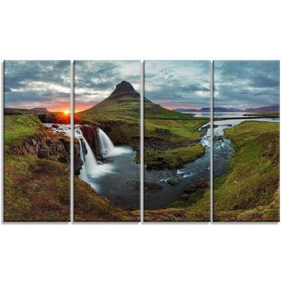 Designart Iceland Landscape Spring Panorama CanvasArt Print - 4 Panels