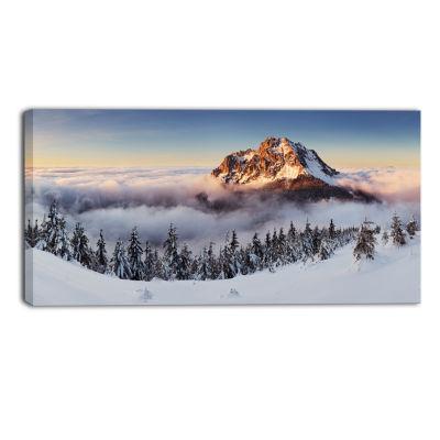 Designart Winter Mountain Landscape Photography Canvas Art Print