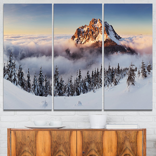 Designart Winter Mountain Landscape Photography Canvas Art Print - 3 Panels
