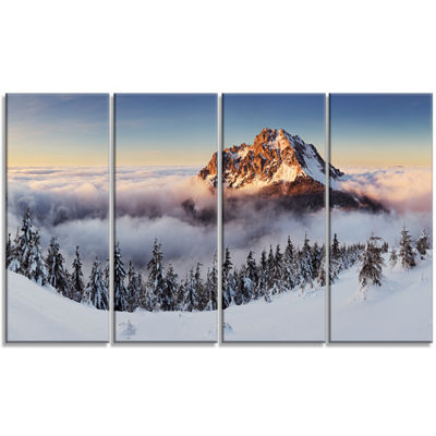 Designart Winter Mountain Landscape Photography Canvas Art Print - 4 Panels