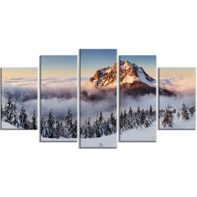 Designart Winter Mountain Landscape Photography Canvas Art Print - 5 Panels