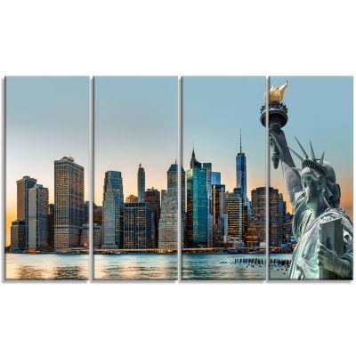 Designart New York City Skyline Panorama Photography Canvas Art Print - 4 Panels
