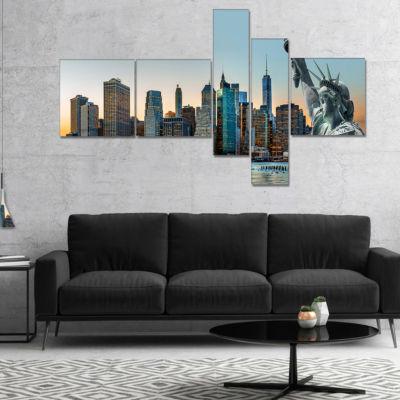 Designart New York City Skyline Panorama Photography Canvas Art Print - 5 Panels