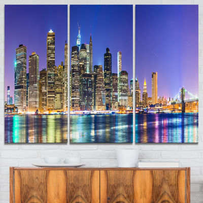 Design Art New York Cityscape Panorama Photography Landscape Canvas Print - 3 Panels