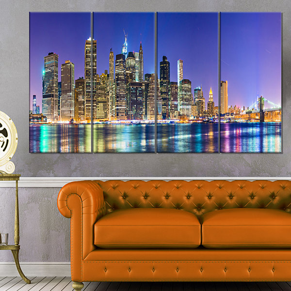 Design Art New York Cityscape Panorama Photography Landscape Canvas Print - 4 Panels