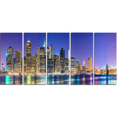 Designart New York Cityscape Panorama PhotographyLandscape Canvas Print - 5 Panels