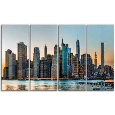 Design Art New York City Skyline Photography Canvas Art Print - 4 Panels