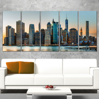 Designart New York City Skyline Photography CanvasArt Print - 5 Panels