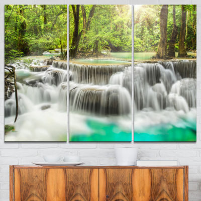 Designart Kanchanaburi Erawan Waterfall Photography Canvas Art Print - 3 Panels