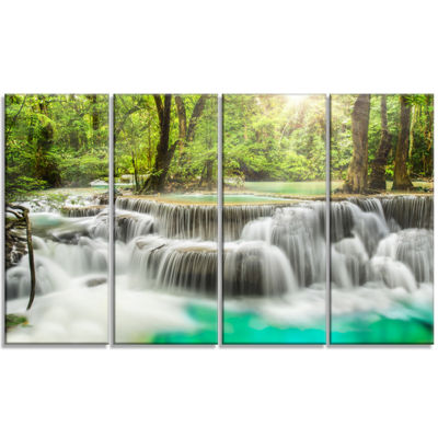 Design Art Kanchanaburi Erawan Waterfall Photography Canvas Art Print - 4 Panels